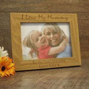 Personalised Wooden Photo Frame I Love My Mummy Mum Mothers Day Gift